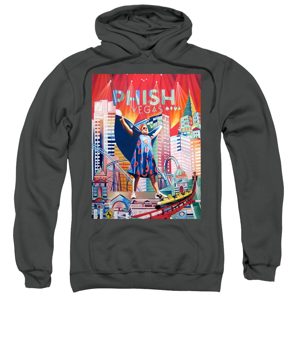 Phish Sweatshirt featuring the drawing Fishman In Vegas by Joshua Morton