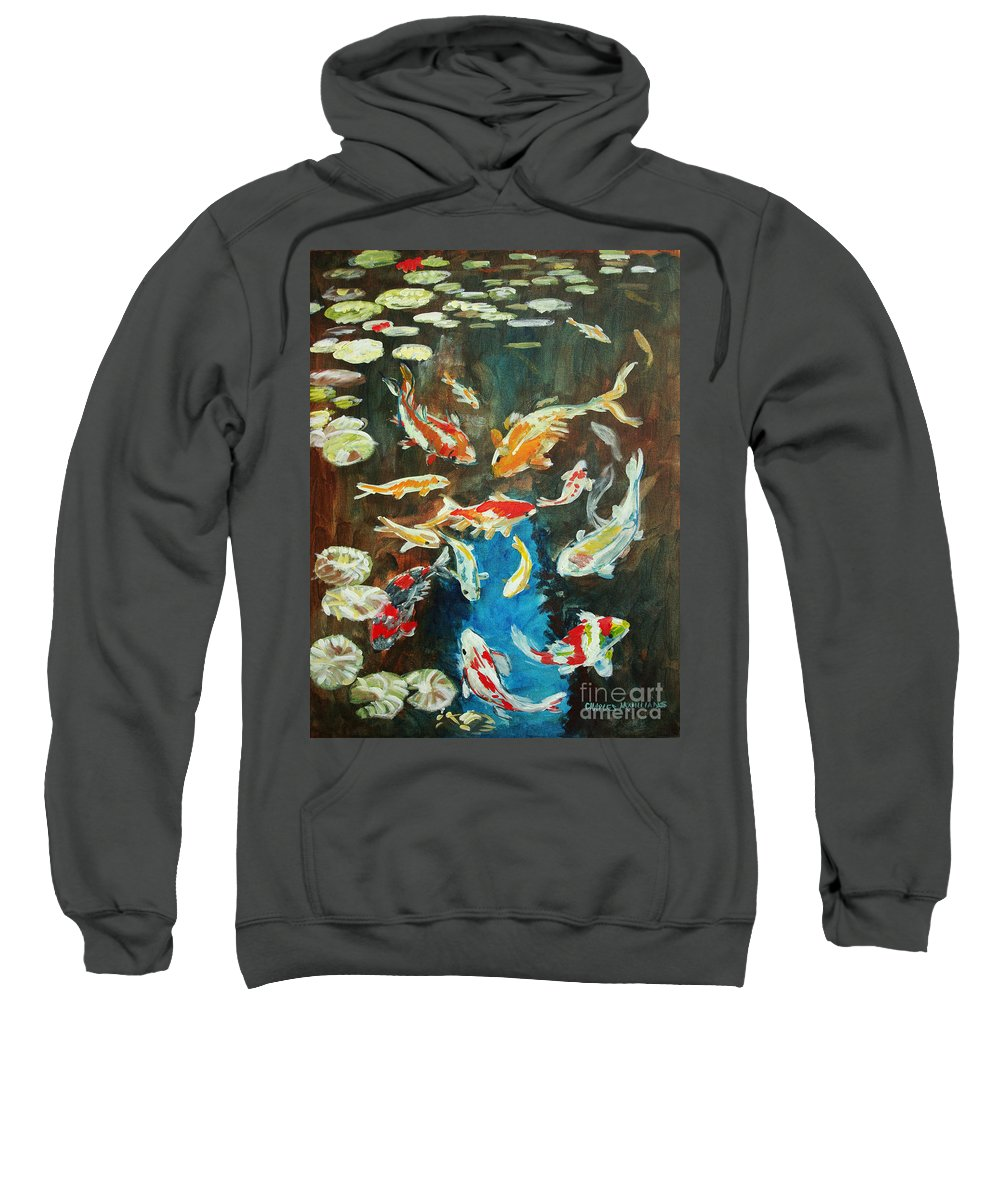 Goldfish Sweatshirt featuring the painting Fishpond by Charles M Williams