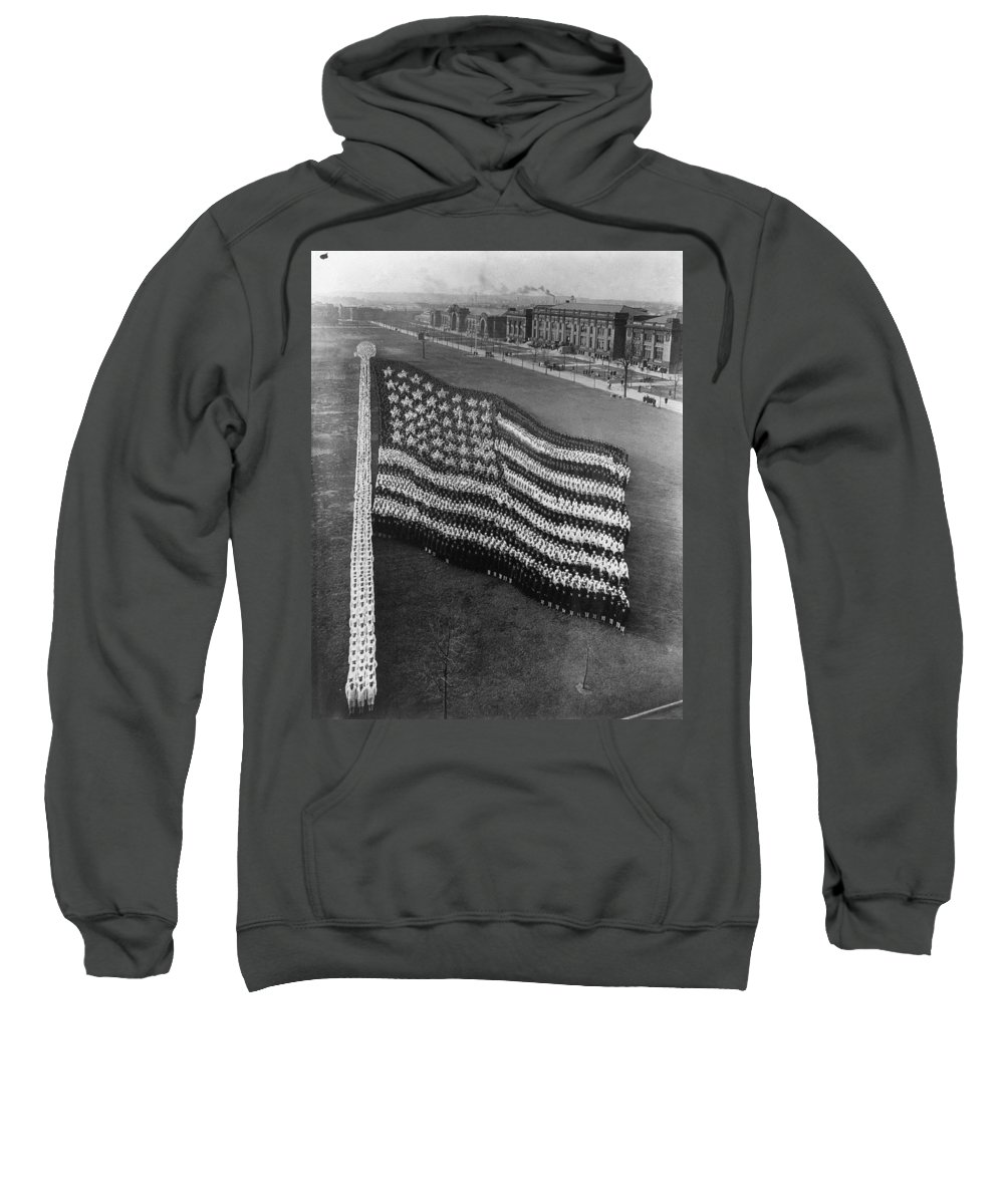 1917 Sweatshirt featuring the photograph Flag Formation, C1917 by Granger