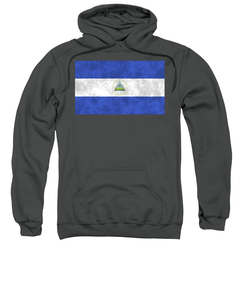 Central America Sweatshirt featuring the digital art Flag Of Nicaragua by World Art Prints And Designs