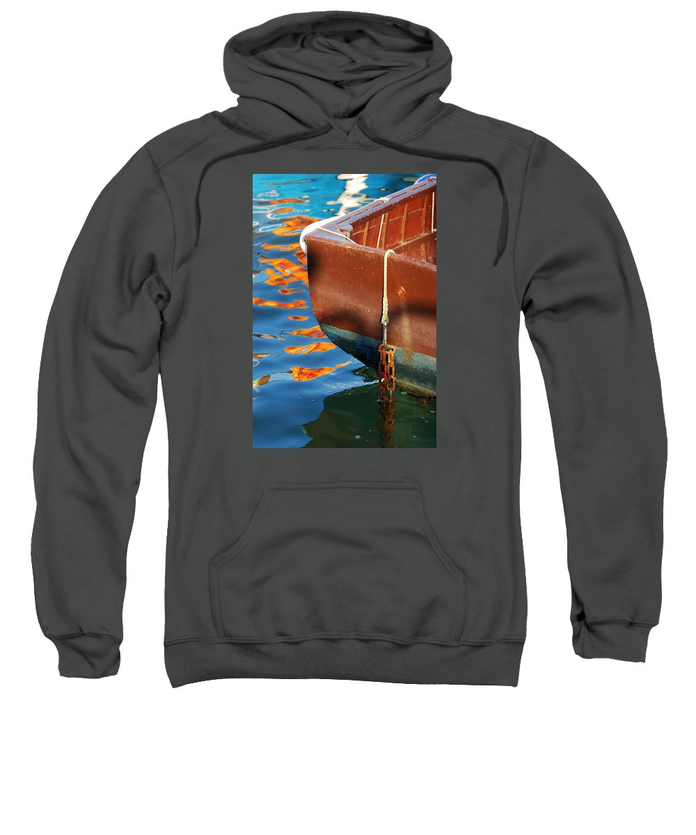 Boat Sweatshirt featuring the photograph Floating On Blue 11 by Wendy Wilton