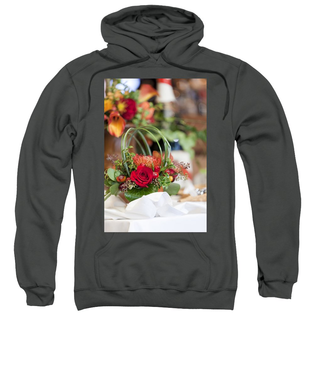 Table Sweatshirt featuring the photograph Floral Centerpiece by Alexey Stiop
