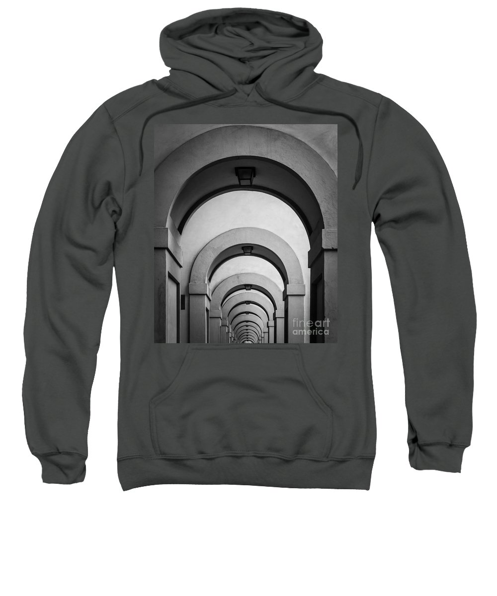 B&w Sweatshirt featuring the photograph Florence Hallway by Inge Johnsson