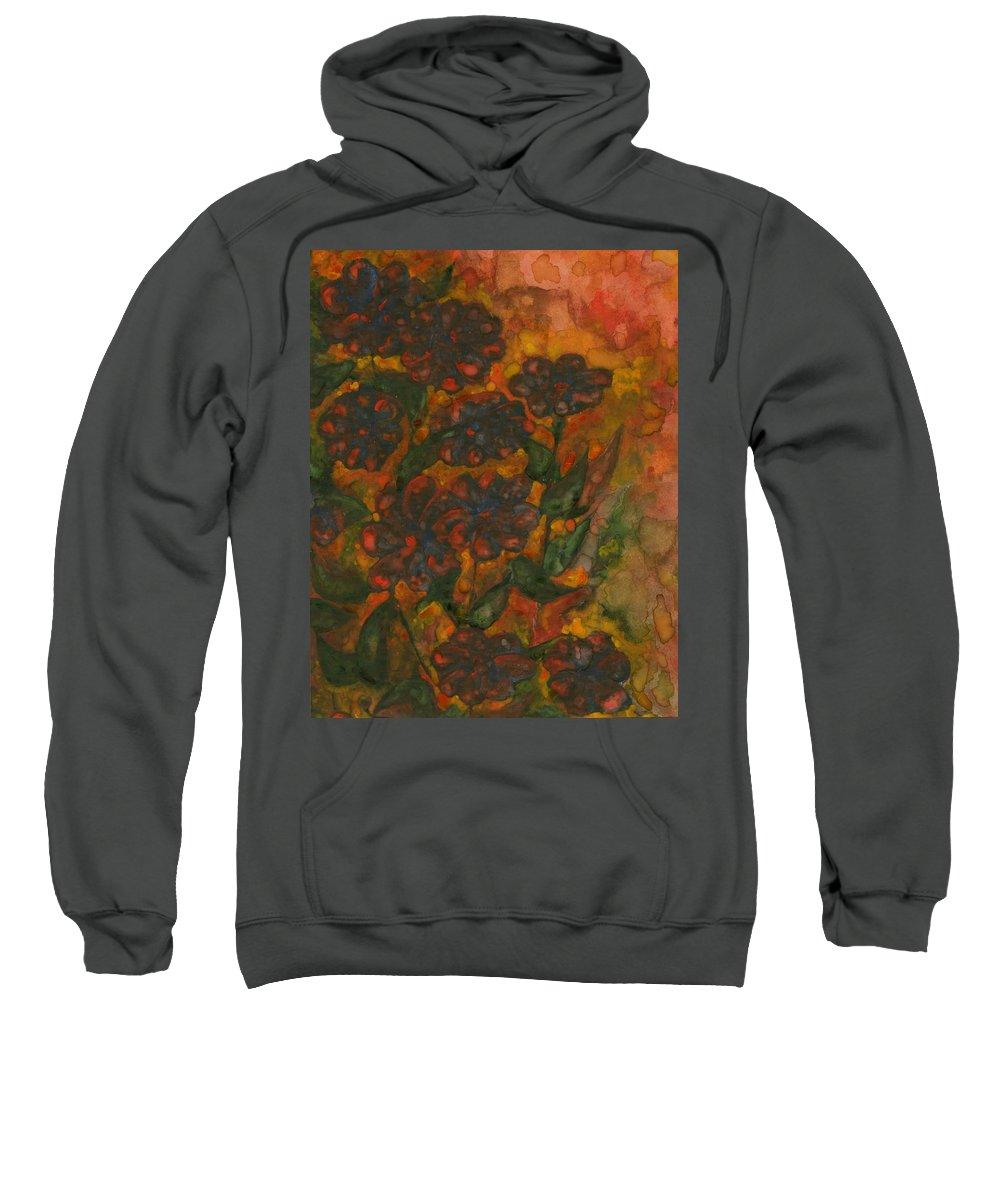 Colour Sweatshirt featuring the painting Flower 11 by Wojtek Kowalski