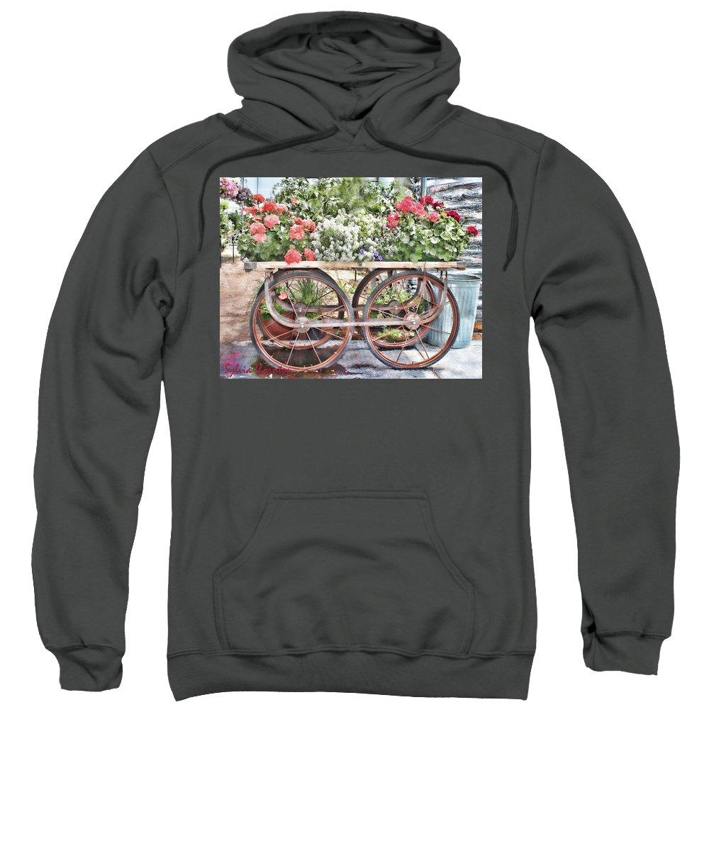 Antique Vendor Cart Sweatshirt featuring the photograph Flower Cart by Sylvia Thornton