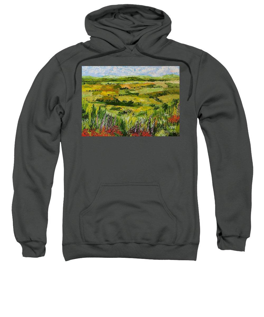 Landscape Sweatshirt featuring the painting Flower Gate by Allan P Friedlander