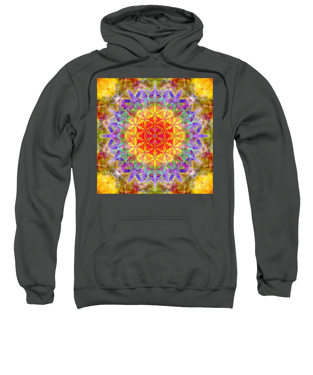 Flower Sweatshirt featuring the photograph Flower Of Life Rainbow Mandala by Susan Bloom