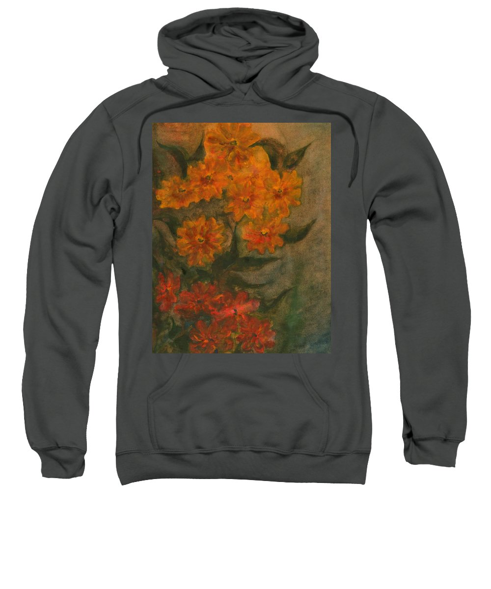 Colour Sweatshirt featuring the painting Flowers 5 by Wojtek Kowalski
