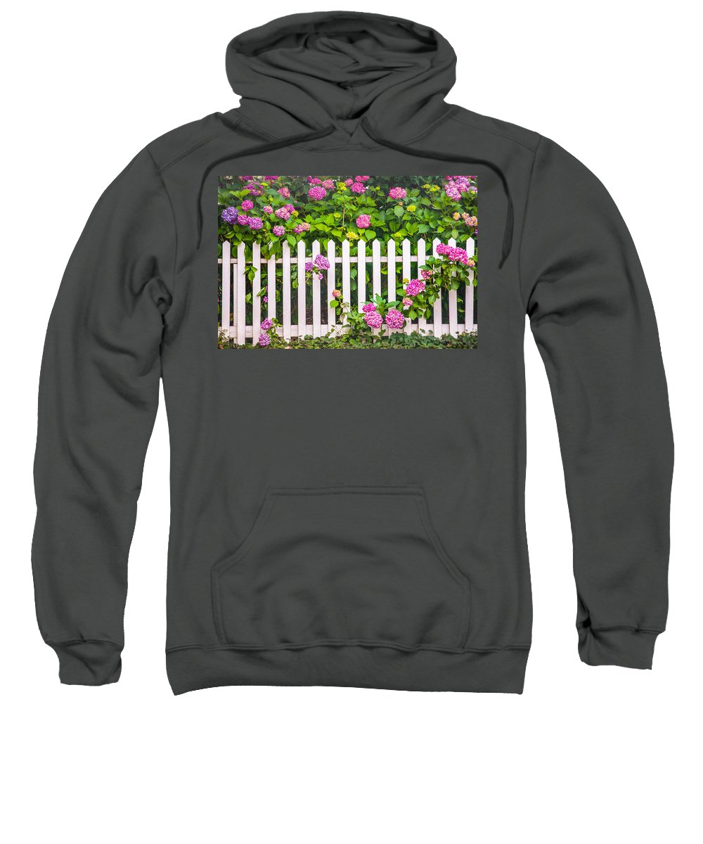 Flowers Sweatshirt featuring the photograph Flowers - Floral - White Picket Fence by Gary Heller