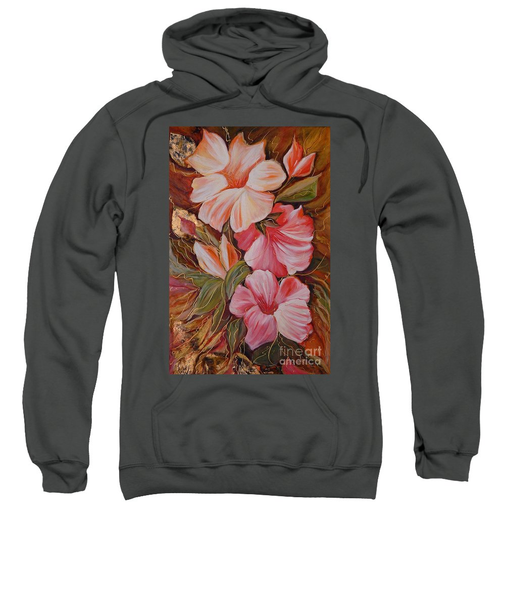 Abstract Sweatshirt featuring the painting Flowers II by Silvana Abel