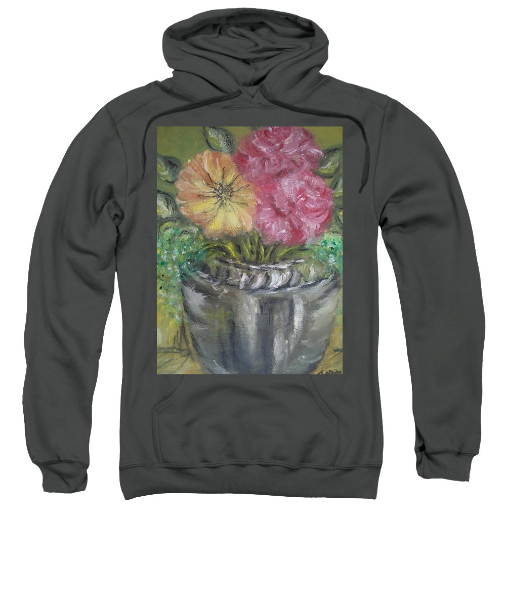 Roses Sweatshirt featuring the painting Flowers by Teresa White