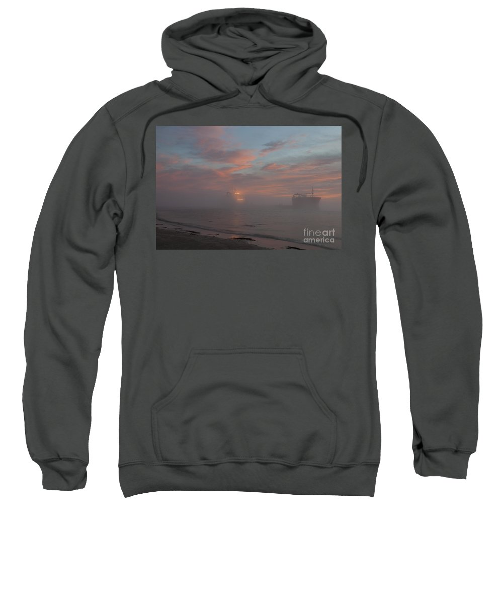 Ghost Ship Sweatshirt featuring the photograph Fog Rolling In by Dale Powell
