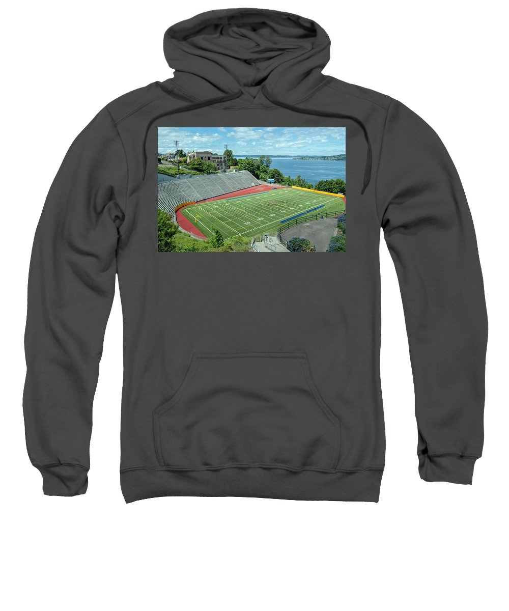 Football Field Sweatshirt featuring the photograph Football Field By The Bay by Tikvah's Hope