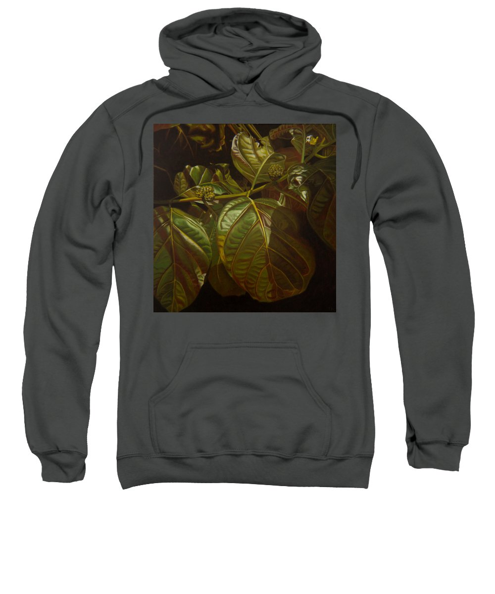 Tropical Plants Sweatshirt featuring the painting Forbidden Fruits by Thu Nguyen