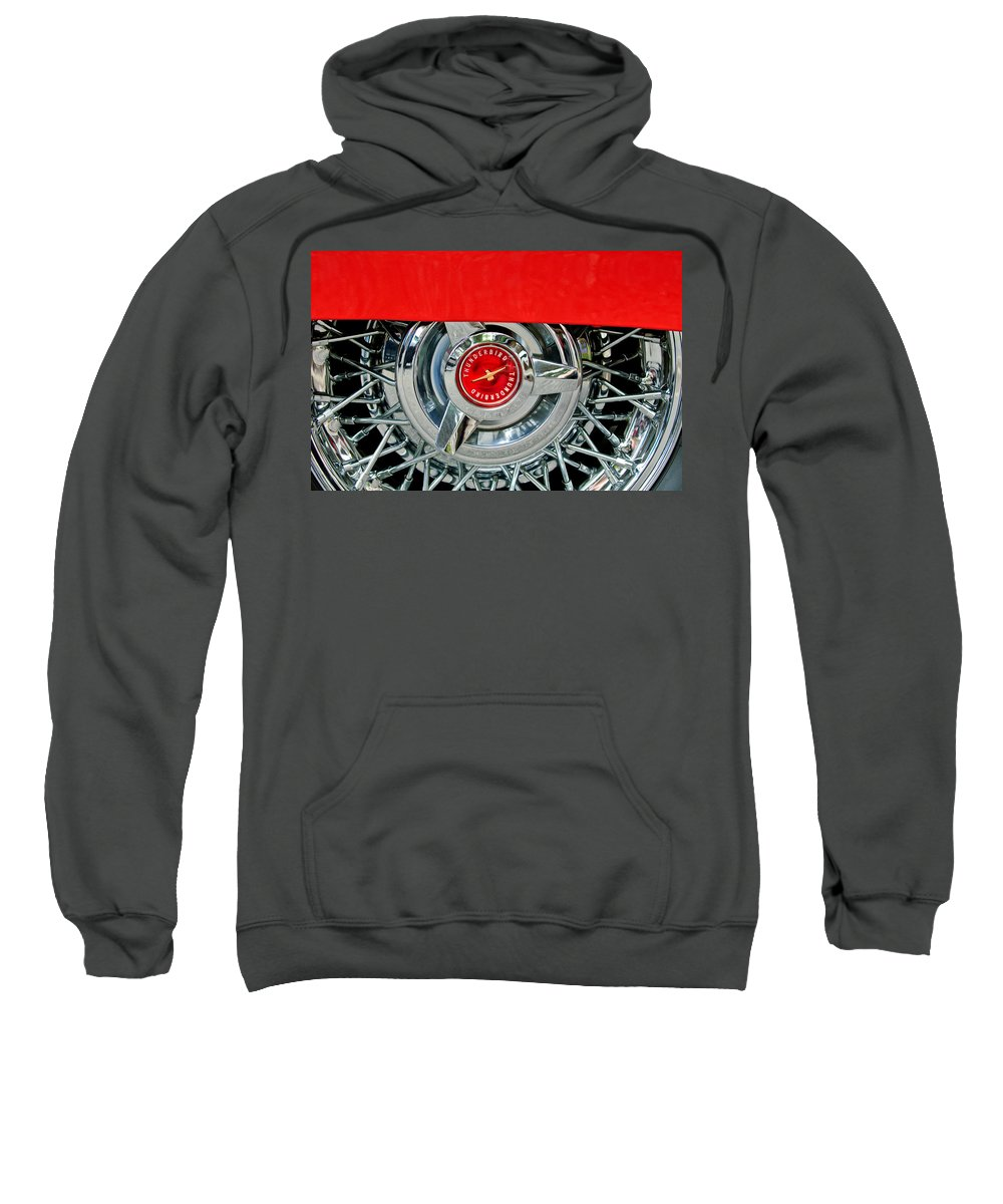 Ford Thunderbird Wheel Emblem Sweatshirt featuring the photograph Ford Thunderbird Wheel Emblem by Jill Reger