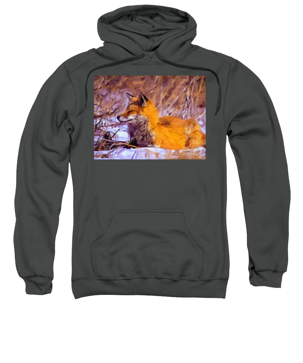 Fox Sweatshirt featuring the painting Fox by Charles Thayer