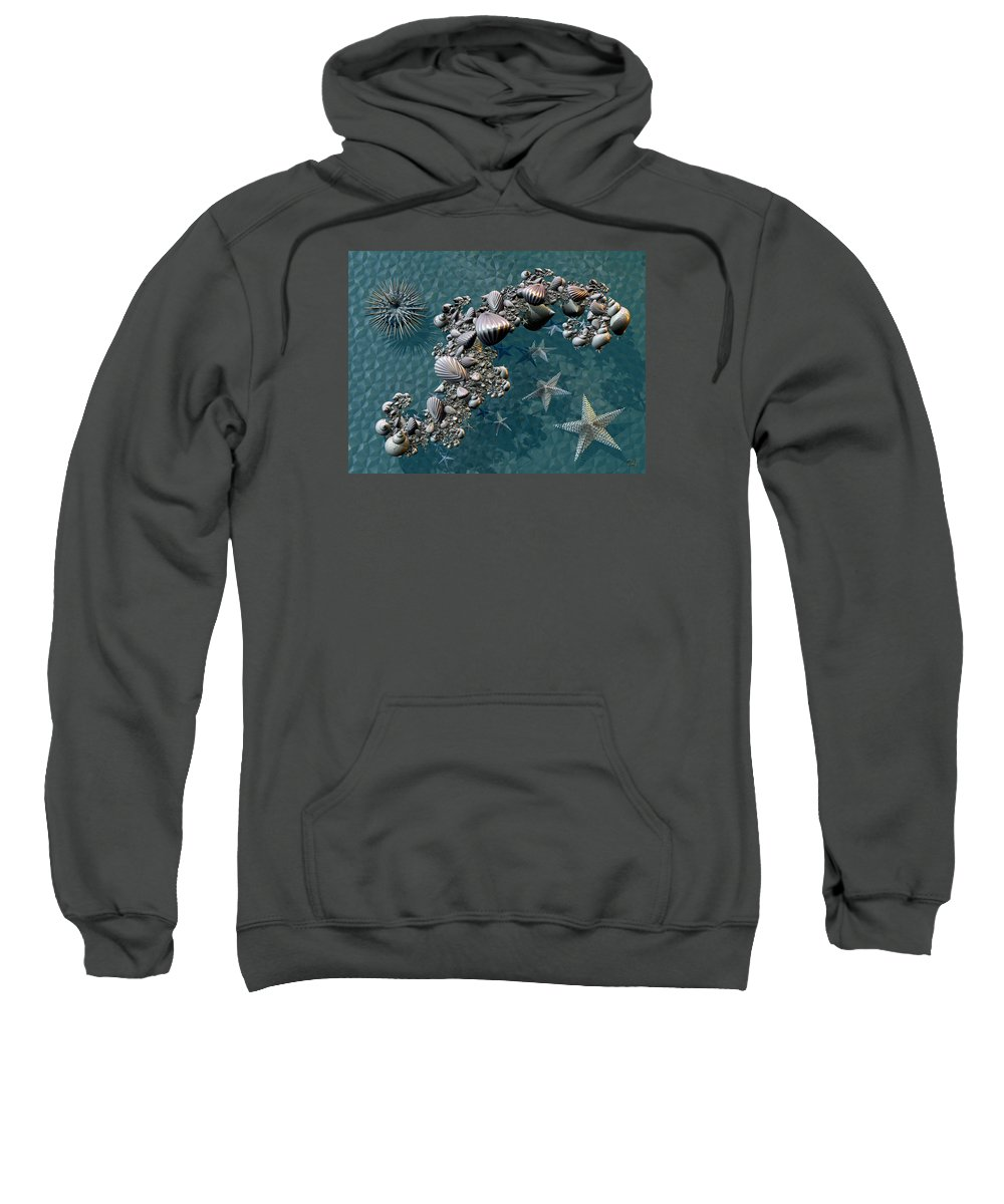 Abstract Sweatshirt featuring the digital art Fractal Sea Life by Manny Lorenzo