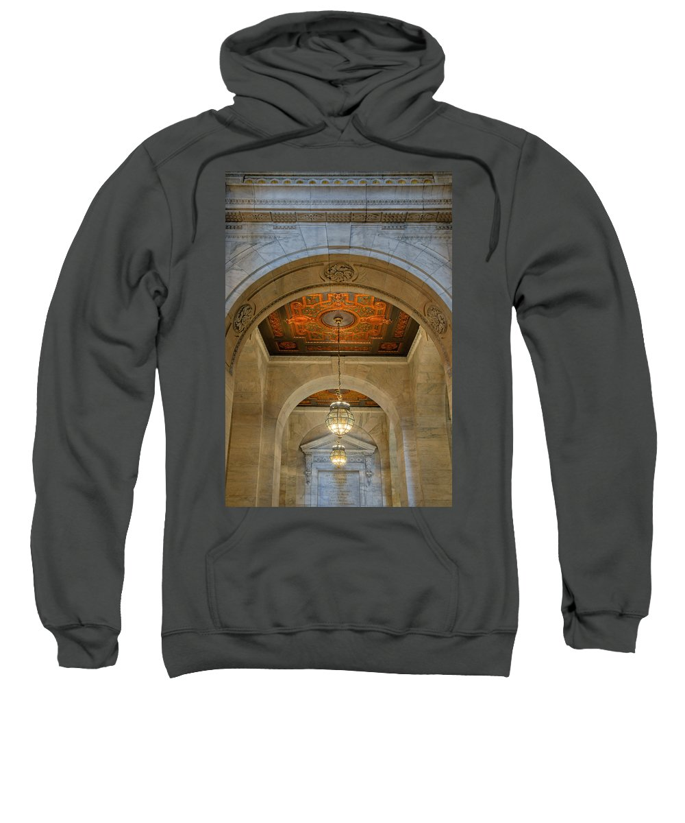 New York Public Library Sweatshirt featuring the photograph Framed By An Arch by Dave Mills