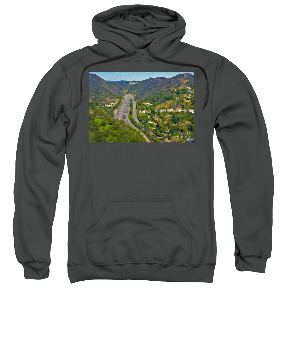 L-405 Sepulveda Pass Traffic Bel Air Crest California Sweatshirt featuring the photograph Freeway Sepulveda Pass Traffic Bel Air Crest California by David Zanzinger