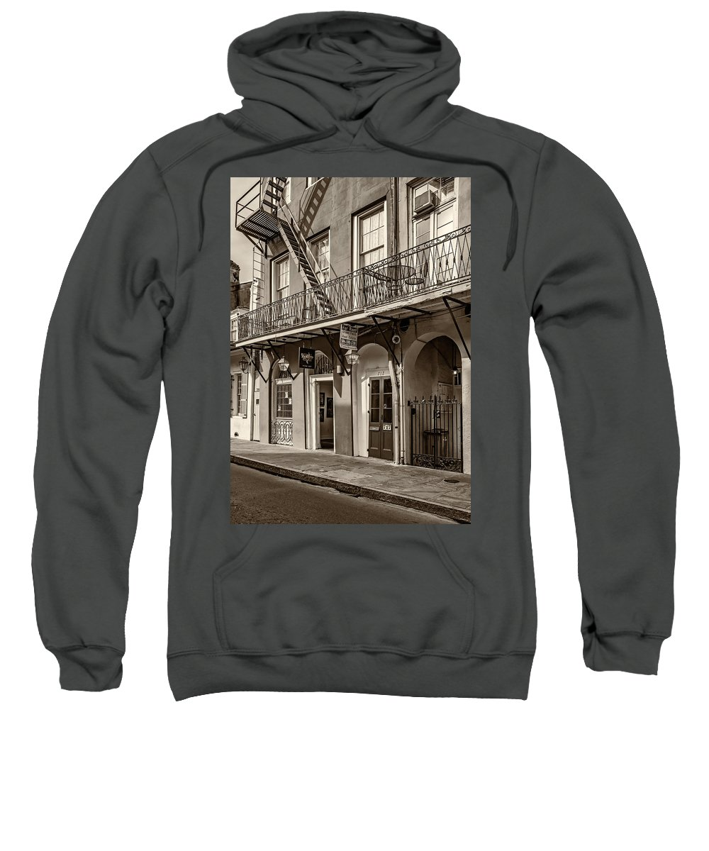 French Quarter Sweatshirt featuring the photograph French Quarter Art And Artistry Sepia by Steve Harrington