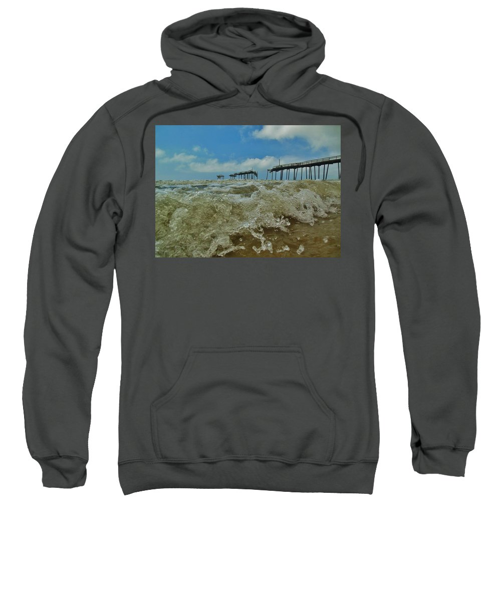Mark Lemmon Cape Hatteras Nc The Outer Banks Photographer Subjects From Sunrise Sweatshirt featuring the photograph Frisco Pier Water Level View 1 5/24 by Mark Lemmon