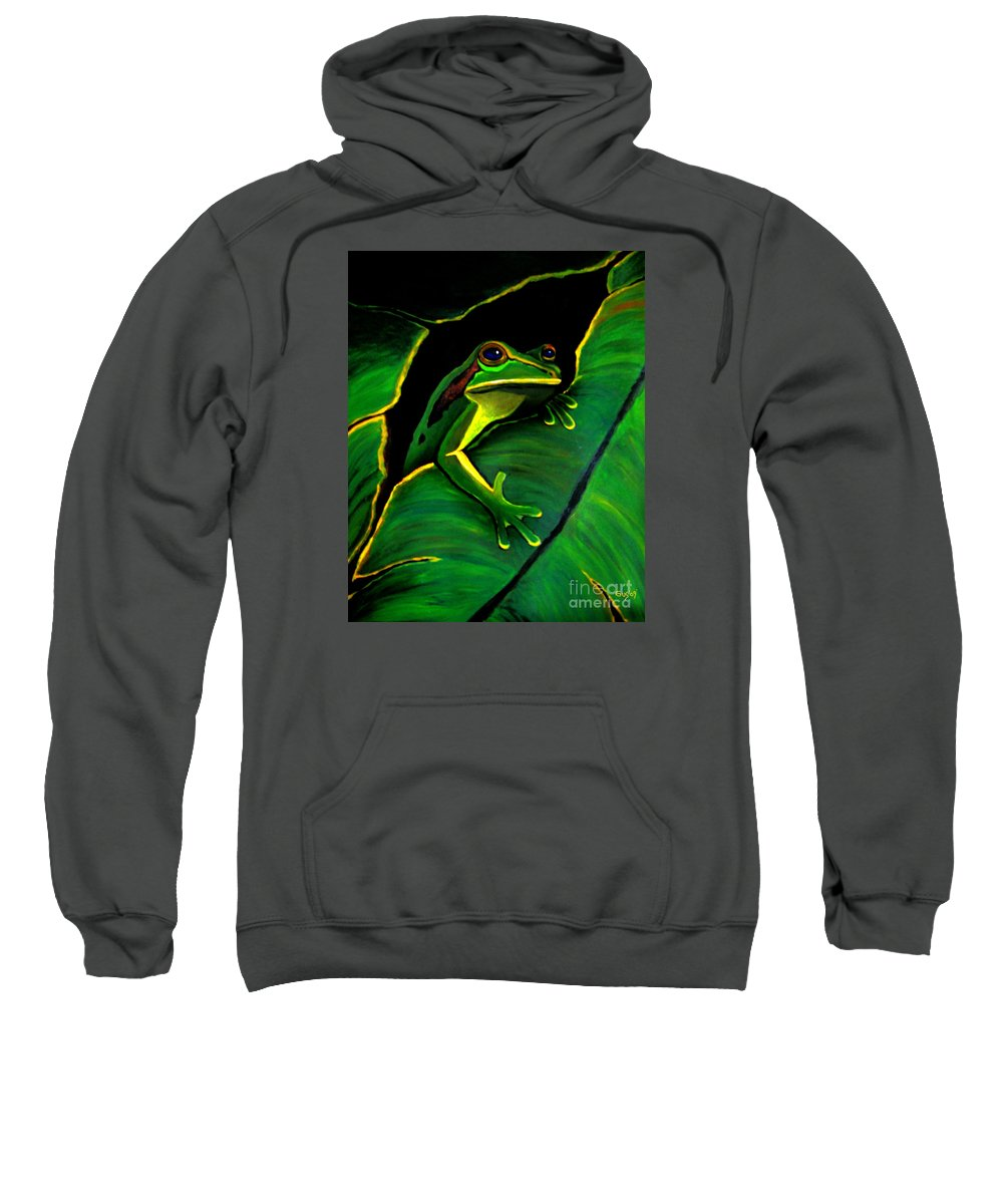 Frog Sweatshirt featuring the painting Frog And Leaf by Nick Gustafson