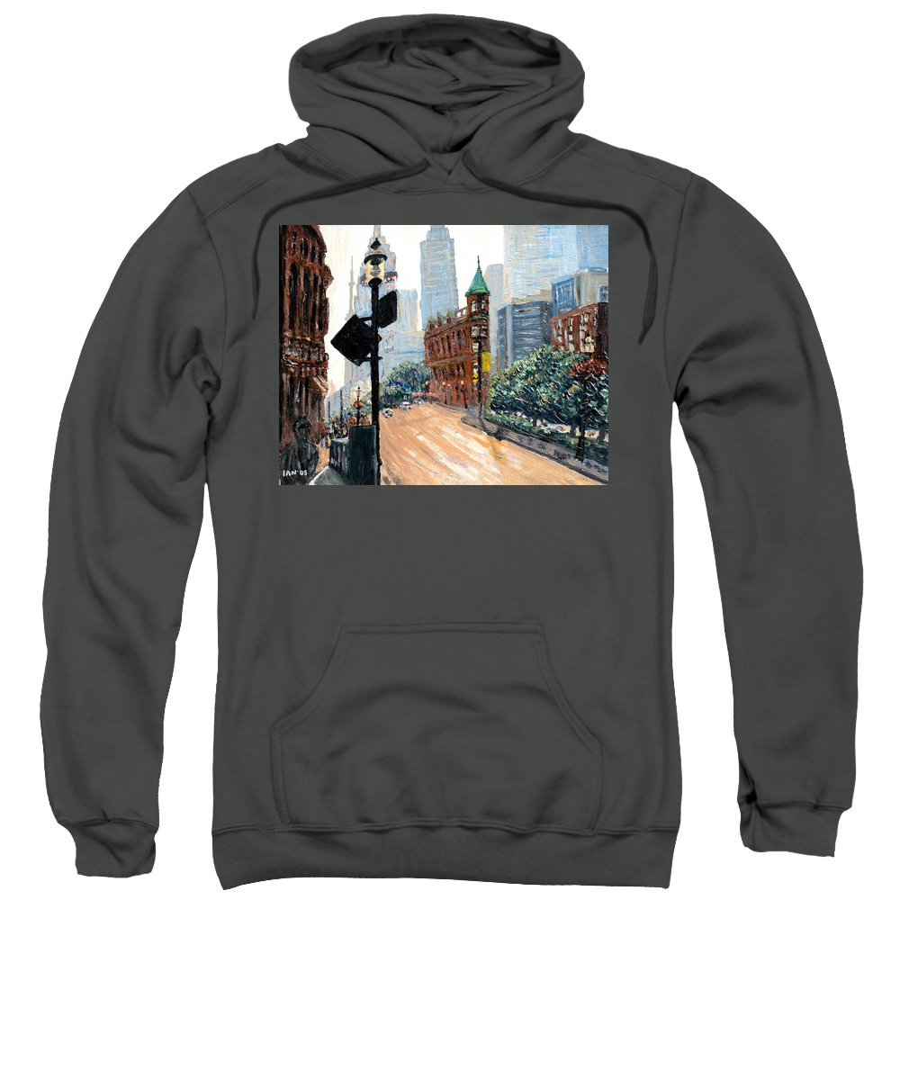 Toronto Sweatshirt featuring the painting Front And Church by Ian MacDonald