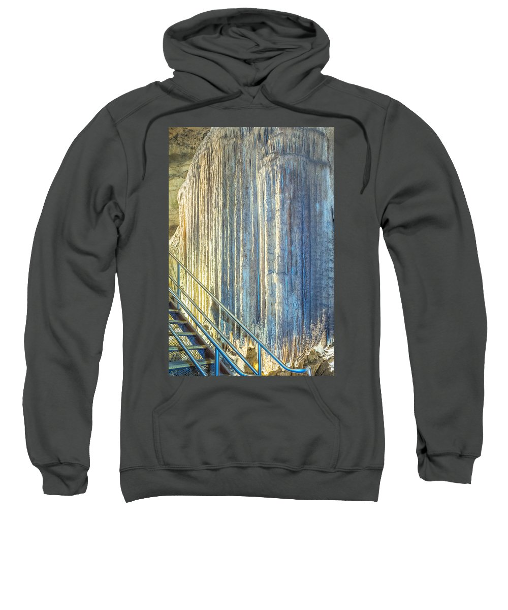 Mammoth Cave National Park Sweatshirt featuring the photograph Frozen Waterfall by Mary Almond