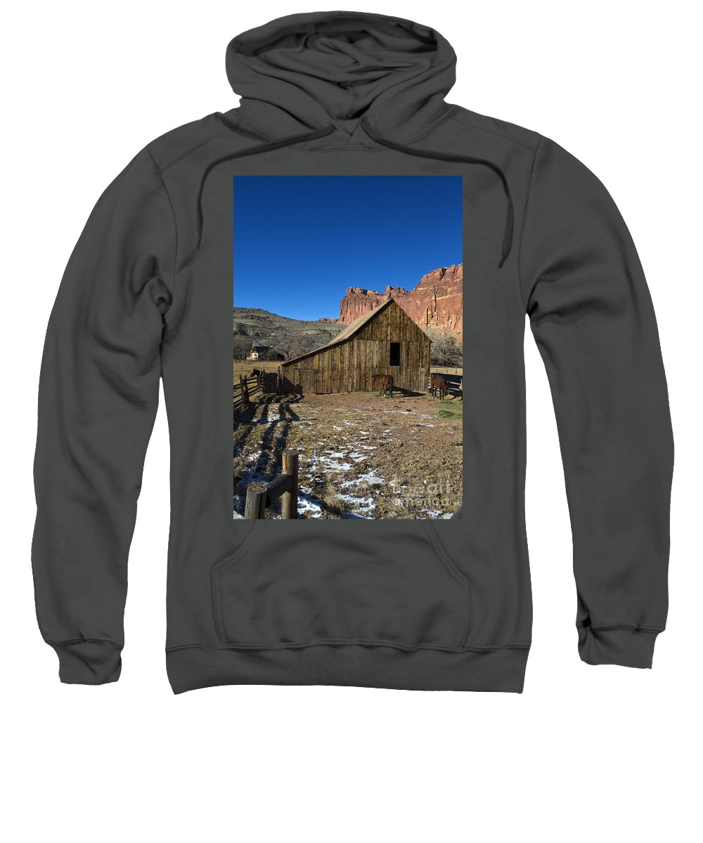 Capitol Reef Sweatshirt featuring the photograph Fruita Horse Stable Capitol Reef National Park Utah by Jason O Watson