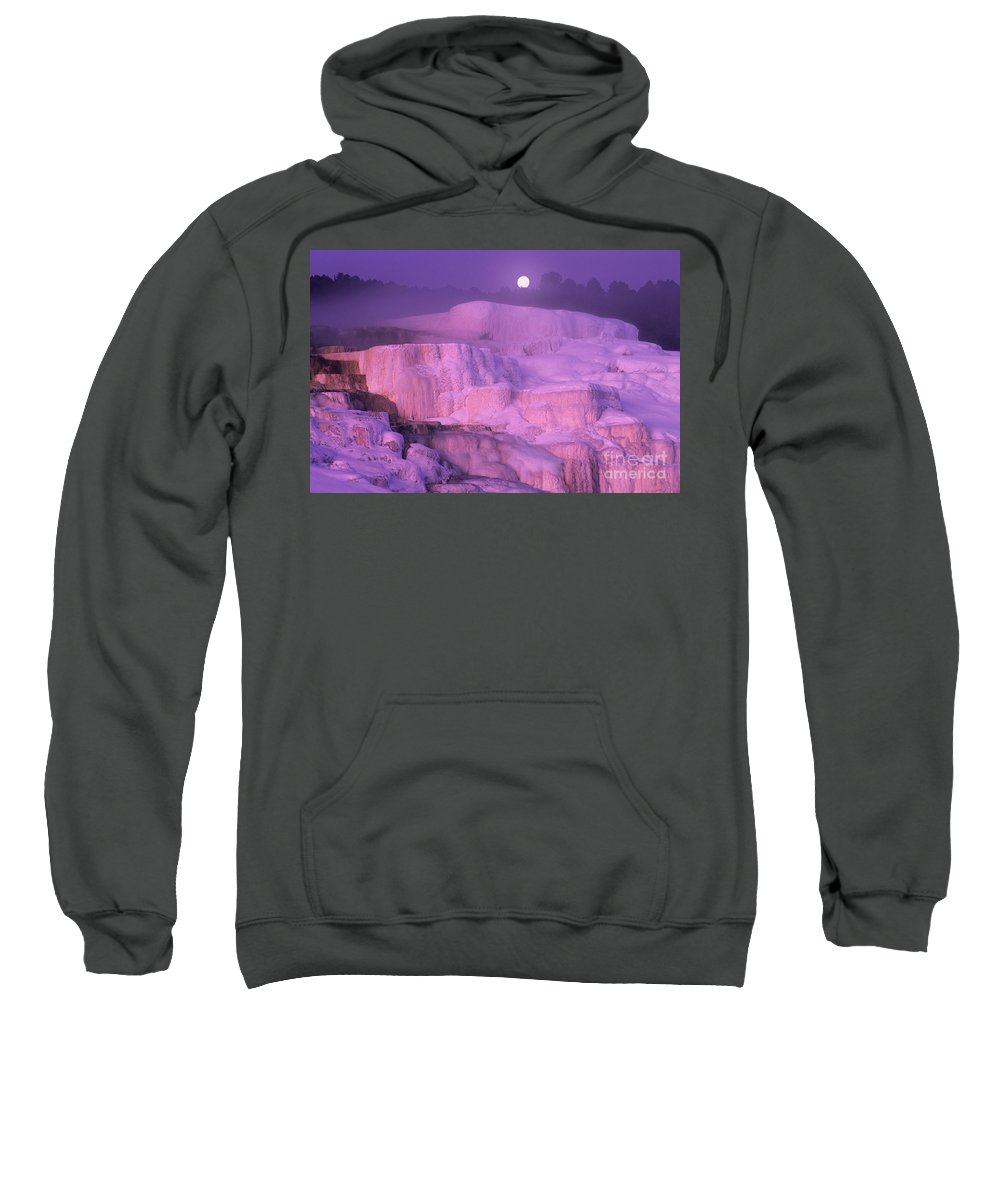 North America Sweatshirt featuring the photograph Full Moon Sets Over Minerva Springs On A Winter Morning Yellowstone National Park by Dave Welling