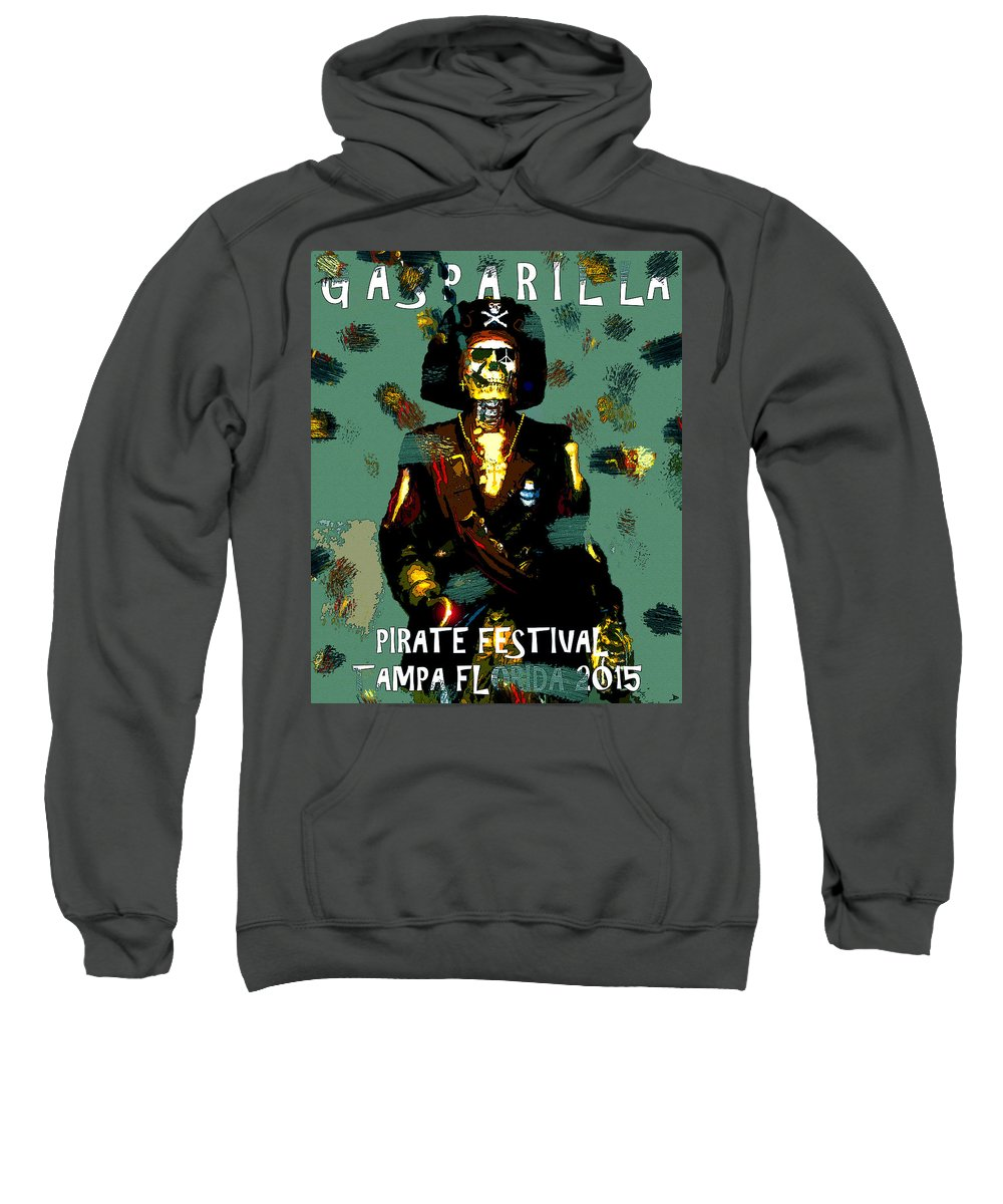 Gasparilla Sweatshirt featuring the painting Gasparilla Pirate Fest 2015 Full Work by David Lee Thompson