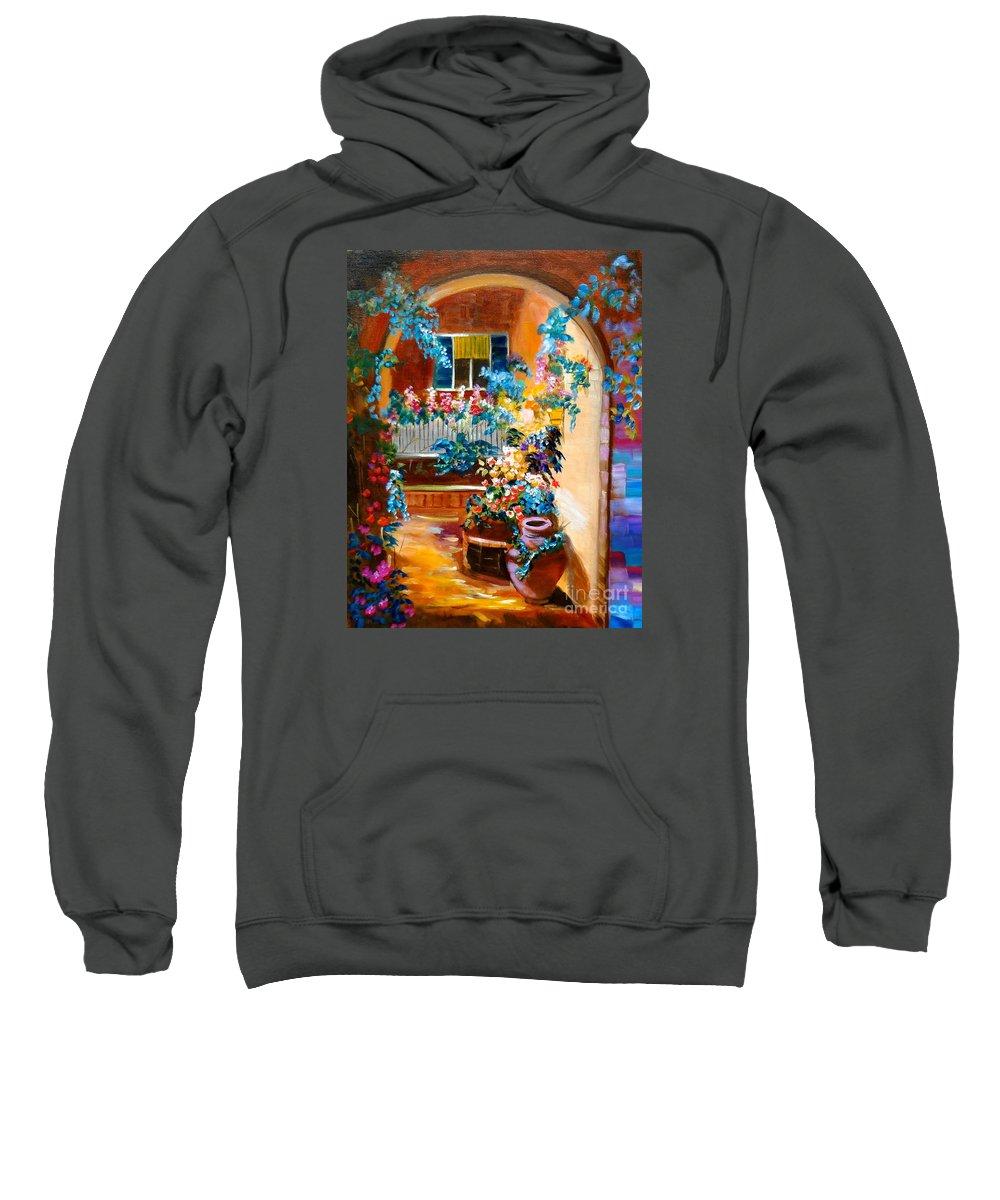 Garden Portico Sweatshirt featuring the painting Garden Gazebo by Jenny Lee