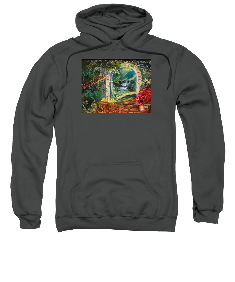 Garden Scene Sweatshirt featuring the painting Garden Of Serenity Beyond by Jenny Lee