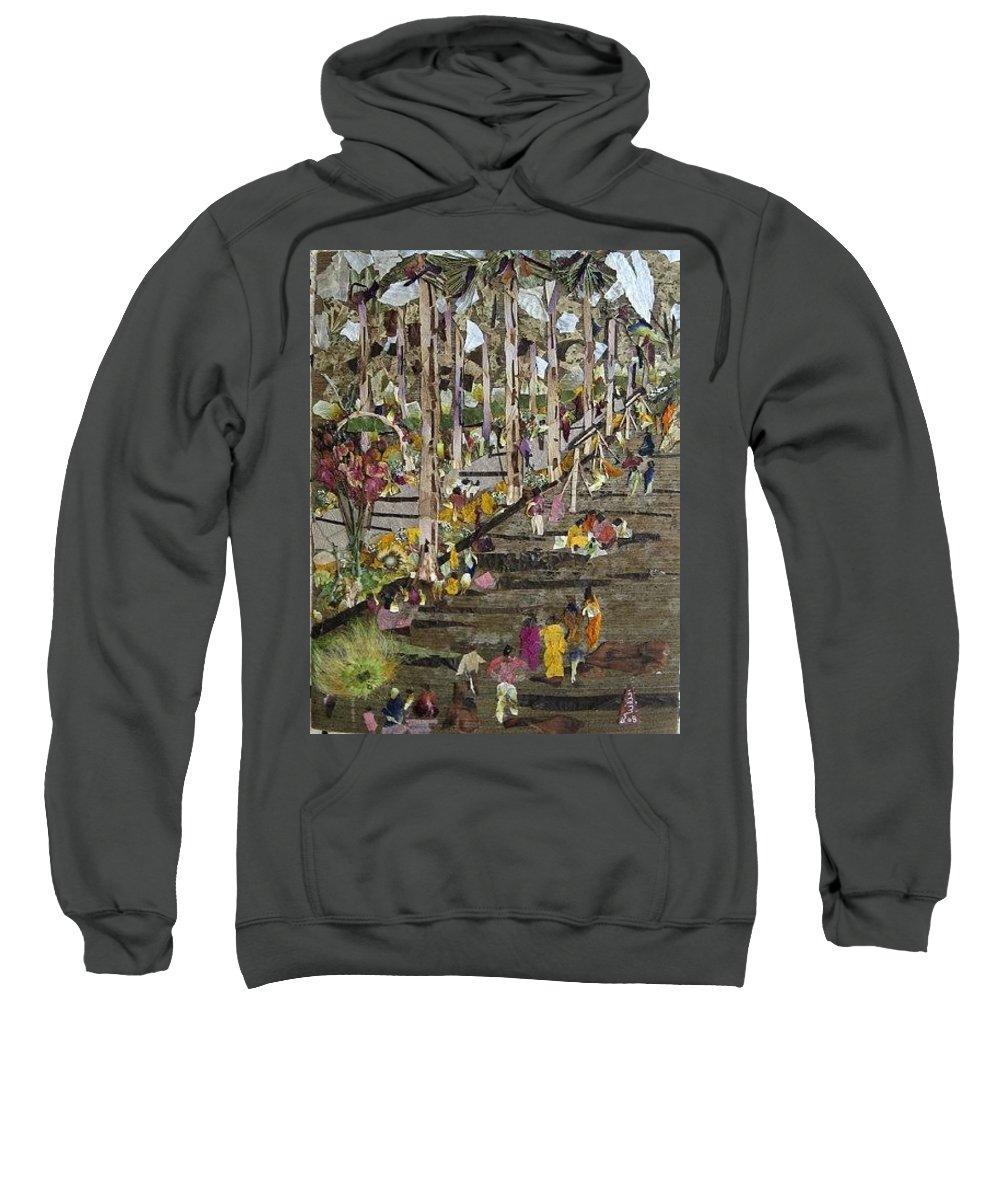 Garden Morning View Sweatshirt featuring the mixed media Garden Picnic by Basant Soni