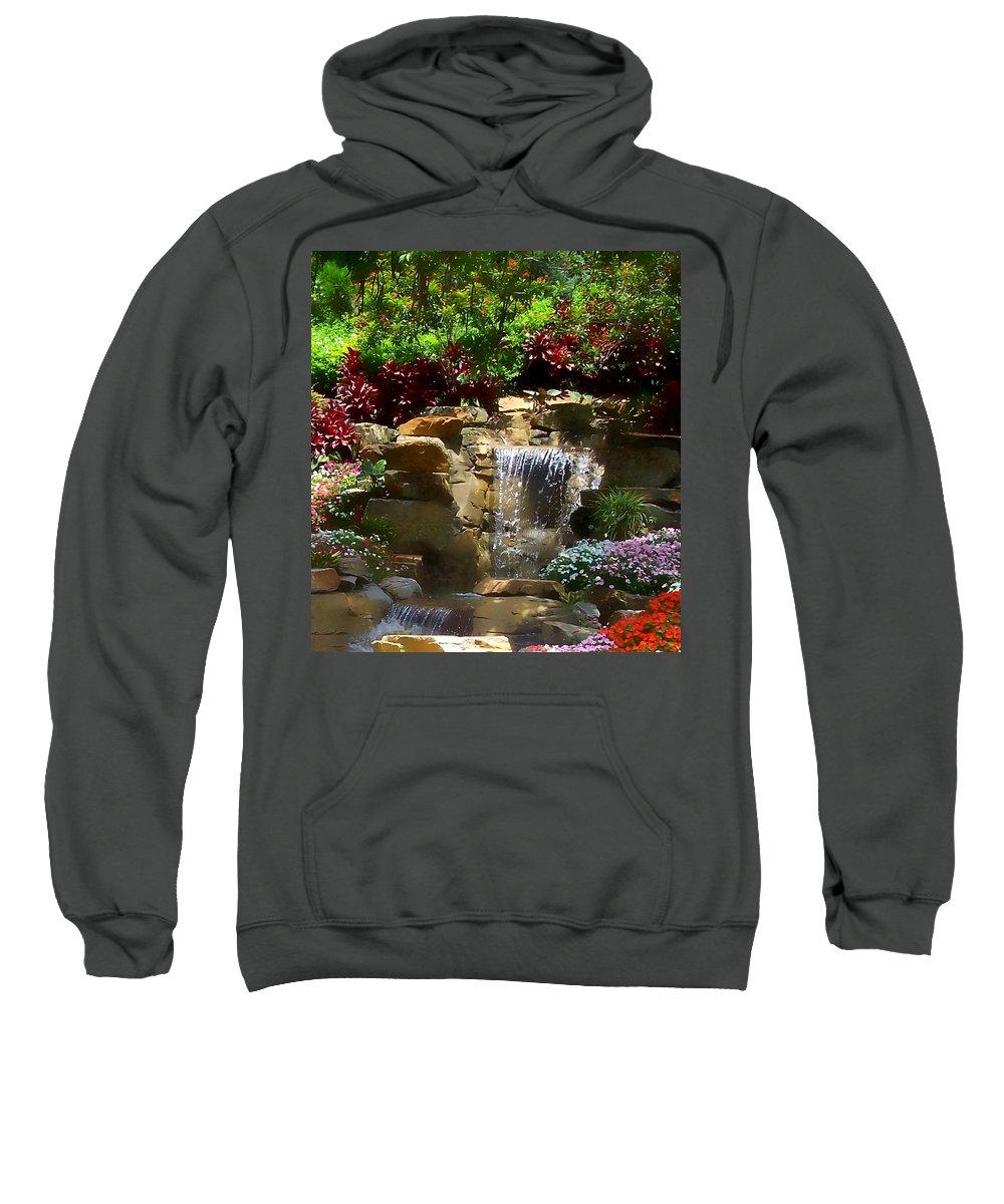 Garden Sweatshirt featuring the photograph Garden Waterfalls by Pharris Art