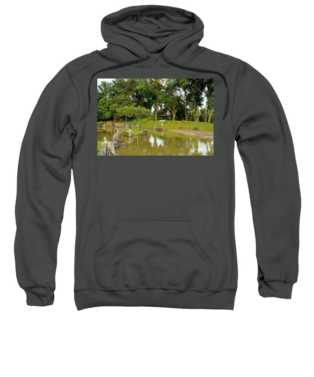 Boulder Sweatshirt featuring the photograph Gazebo Trees Lake And Rock Garden In Singapore Chinese Gardens by Imran Ahmed