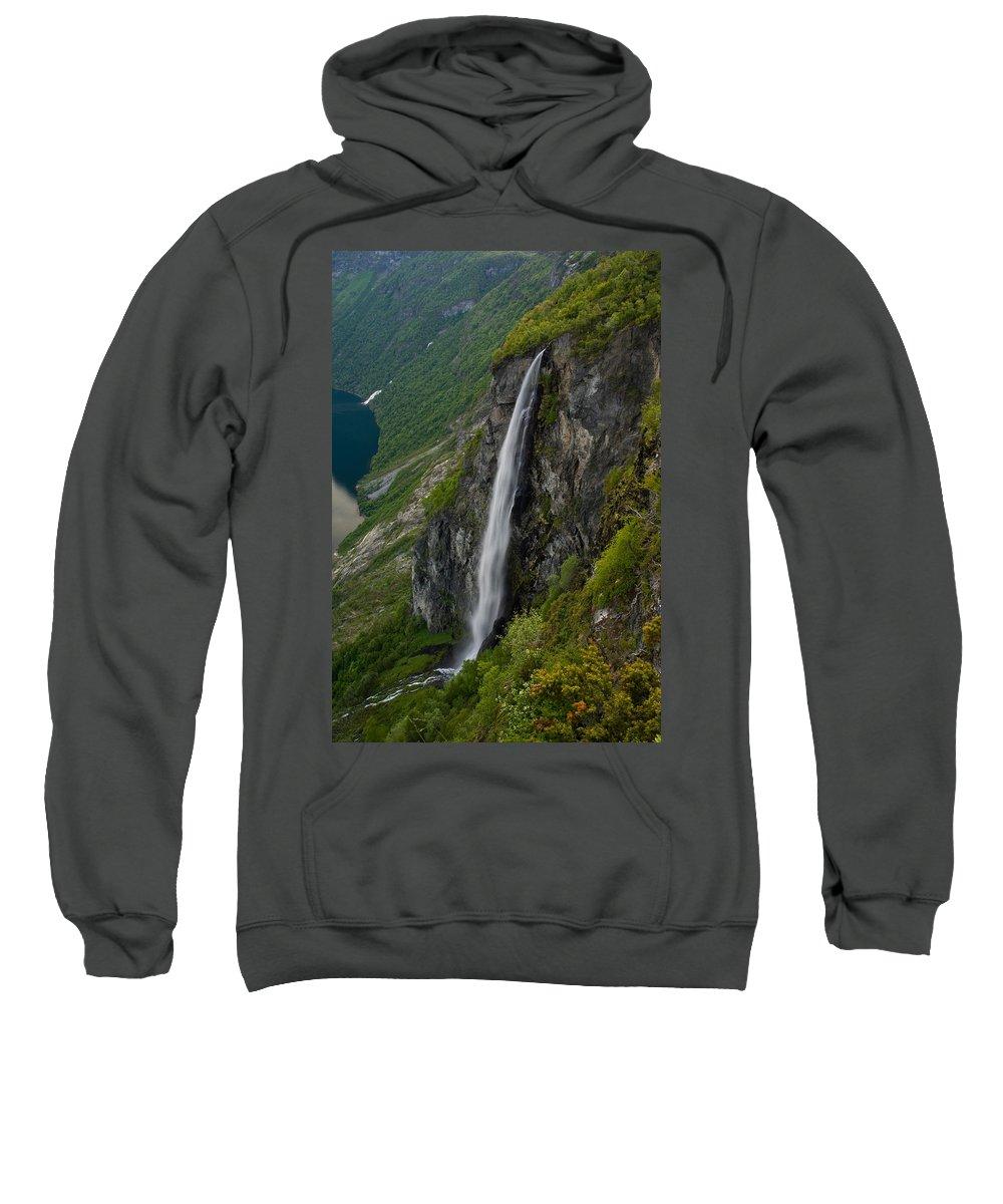 Waterfall Sweatshirt featuring the photograph Geirangerfjord Waterfall by Benjamin Reed