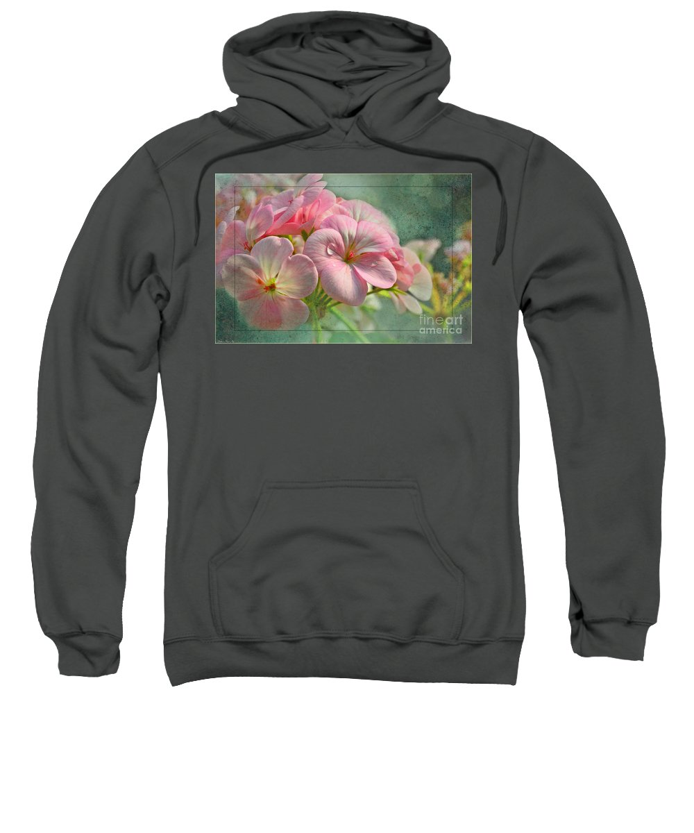 Nature Sweatshirt featuring the photograph Geraniums With Texture by Debbie Portwood