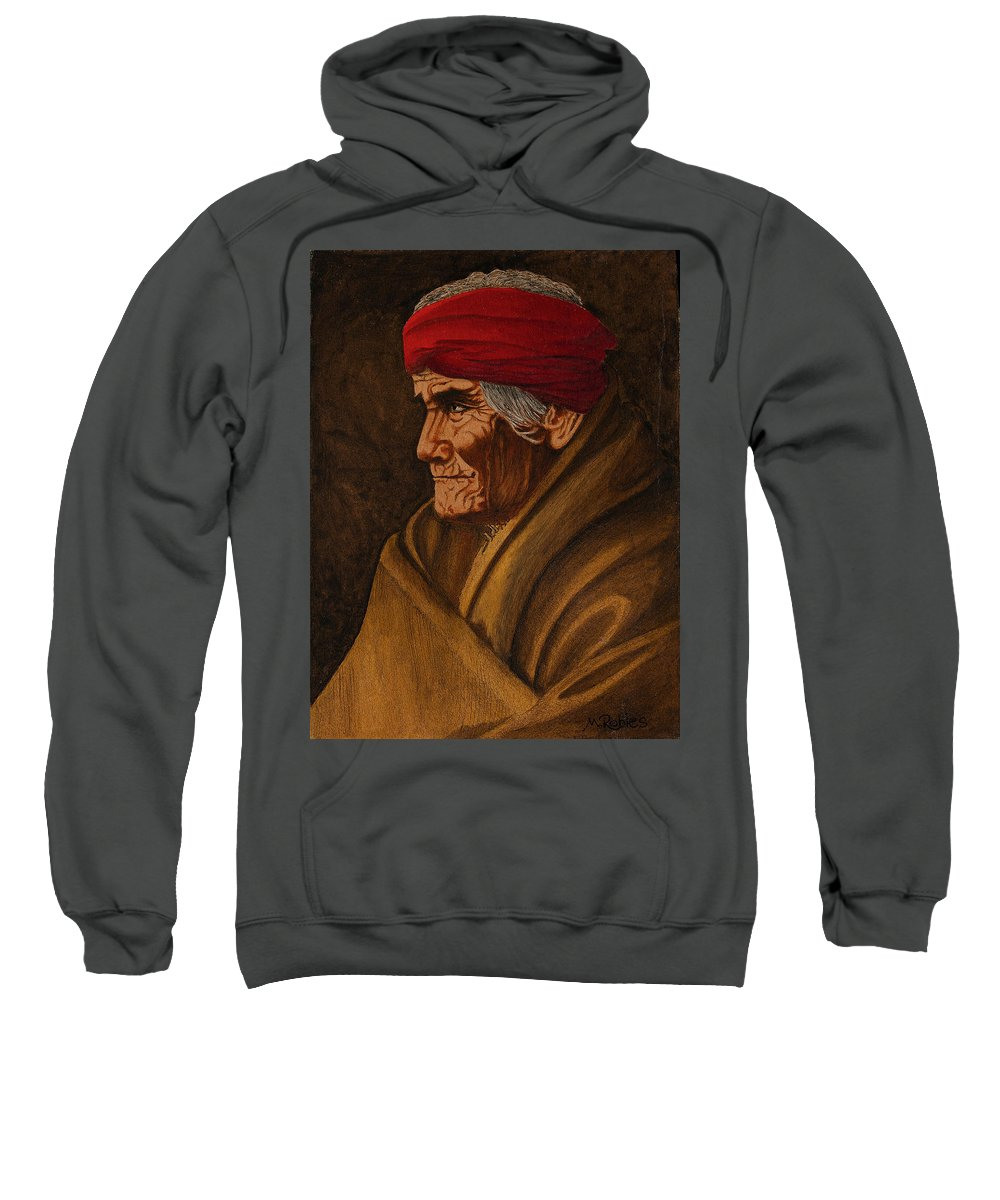 Geronimo Sweatshirt featuring the painting Geronimo At 77 by Mike Robles