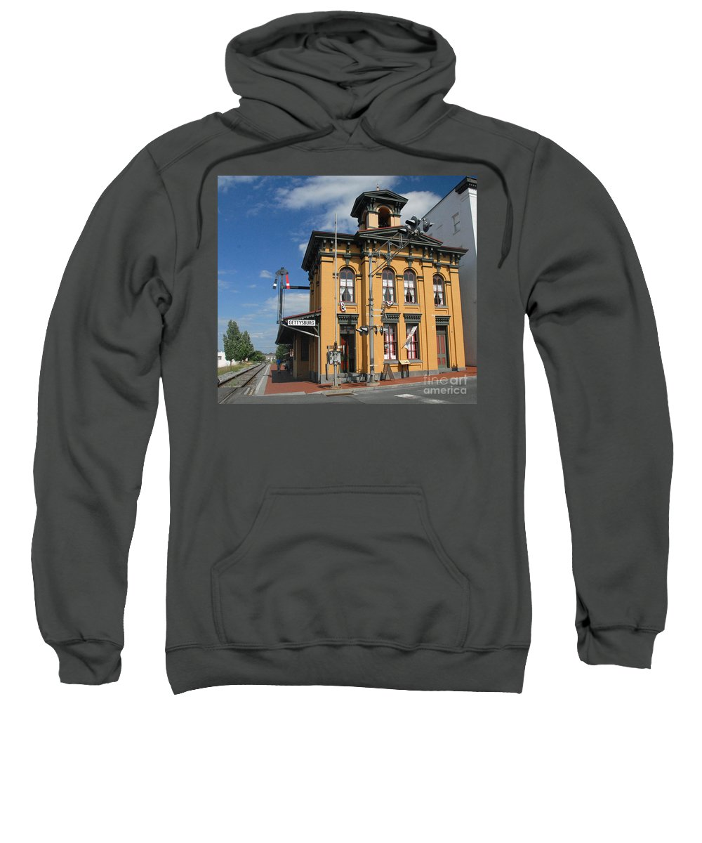History Sweatshirt featuring the photograph Gettysburg Train Station by Cindy Manero