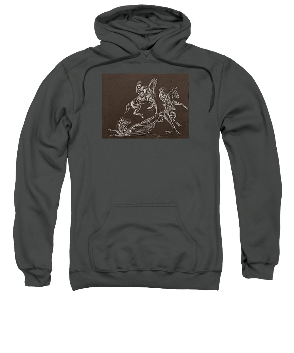 Rearing Horse Sweatshirt featuring the drawing Ghost Riders In The Sky by Tom Conway