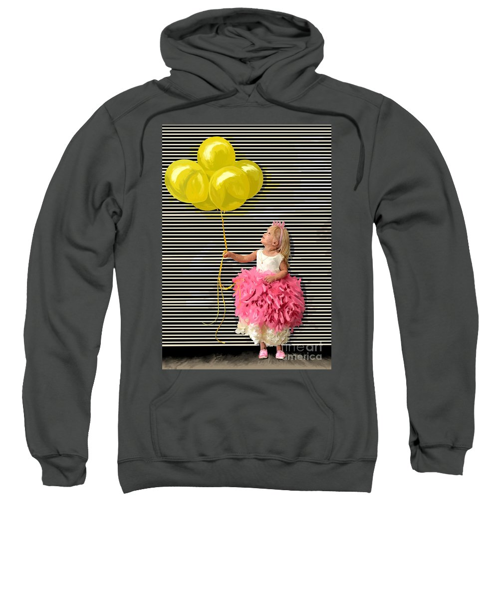Yellow Balloons Sweatshirt featuring the painting Gillian With Yellow Balloons by Tim Gilliland