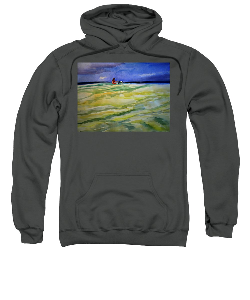 Impressionism Sweatshirt featuring the painting Girl With Dog On The Beach by Julianne Felton