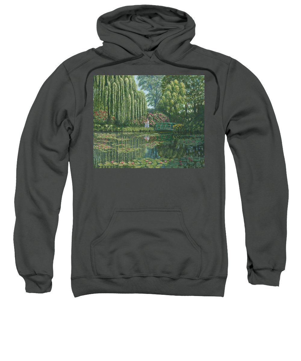 Landscape Sweatshirt featuring the painting Giverny Reflections by Richard Harpum