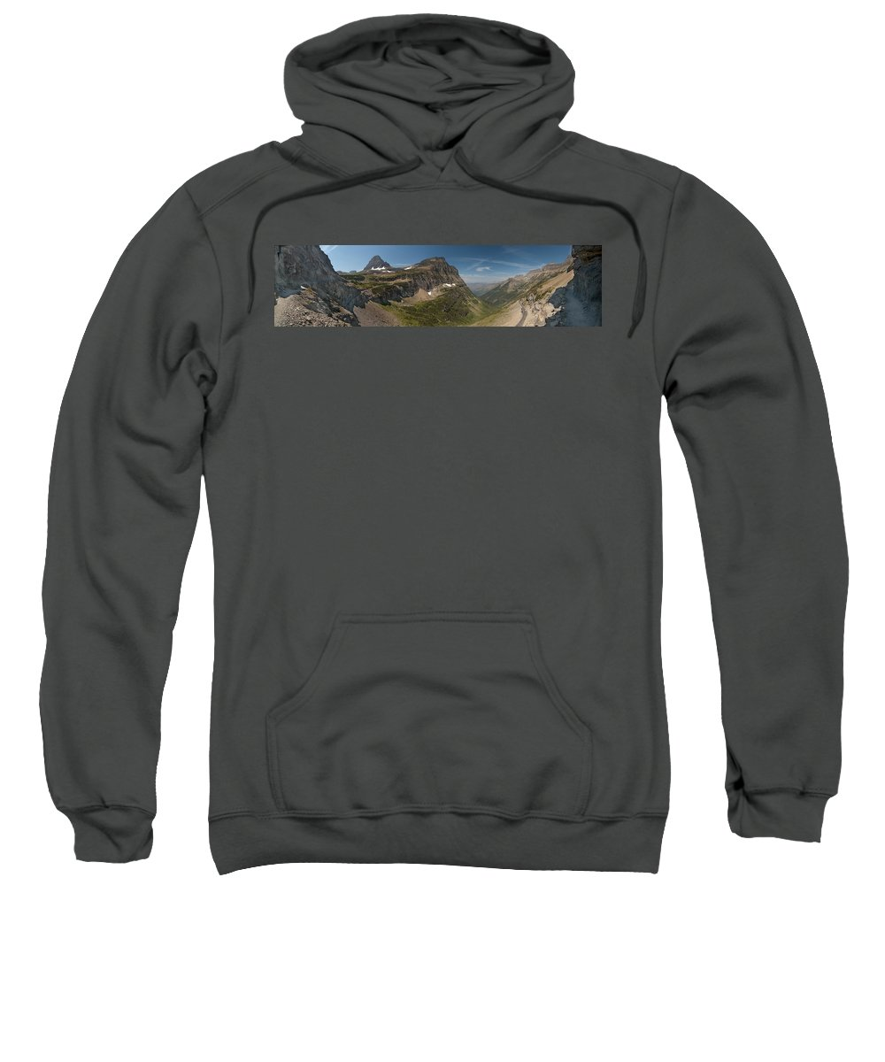 Glacier National Park Sweatshirt featuring the photograph Glacier National Park Panorama by Sebastian Musial