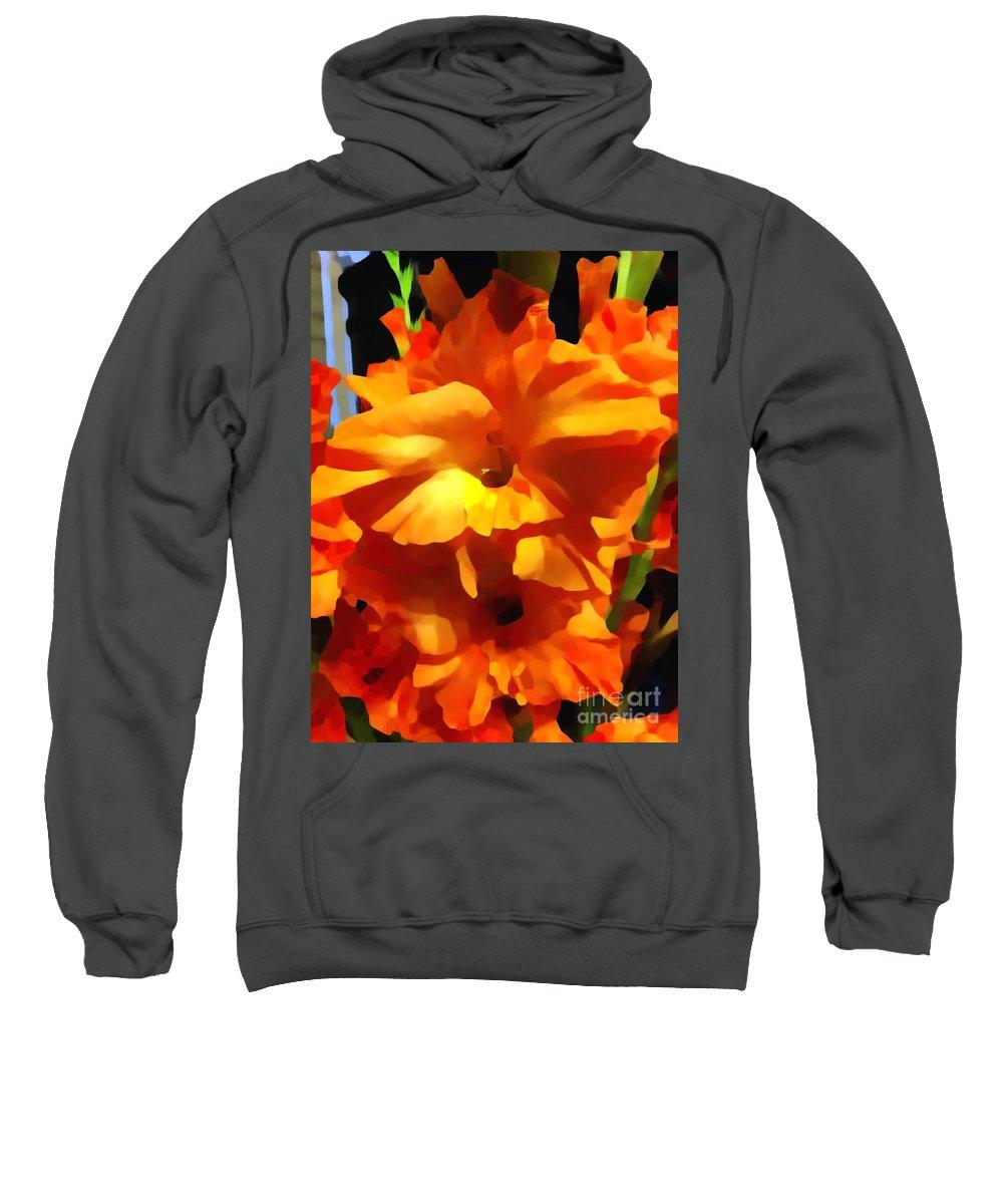 Gladioli Sweatshirt featuring the photograph Gladiola Up Close Impression by Saundra Myles