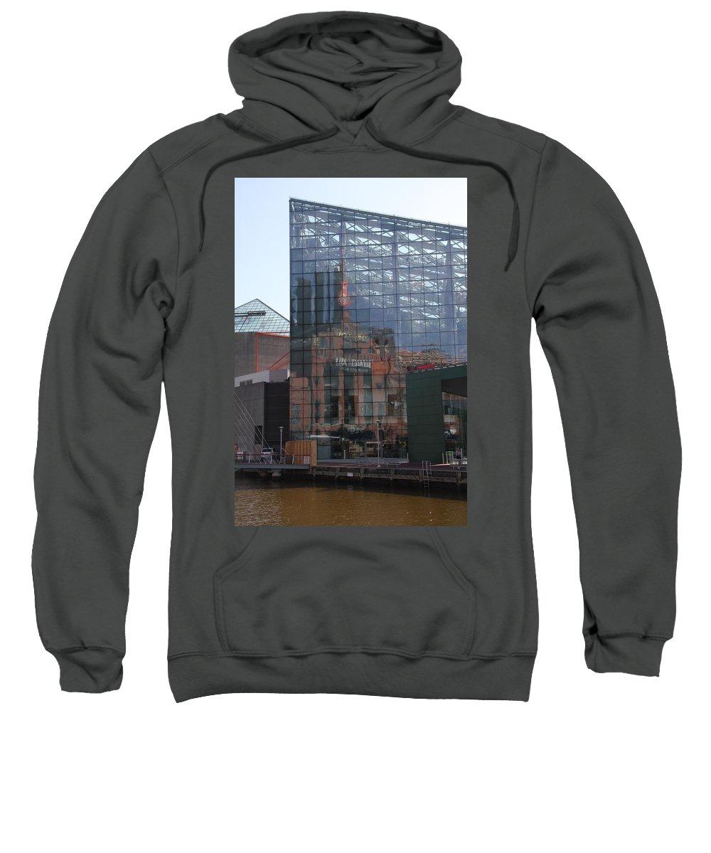 Glaas Facade Sweatshirt featuring the photograph Glass Facade Reflection - Aquarium Baltimore by Christiane Schulze Art And Photography