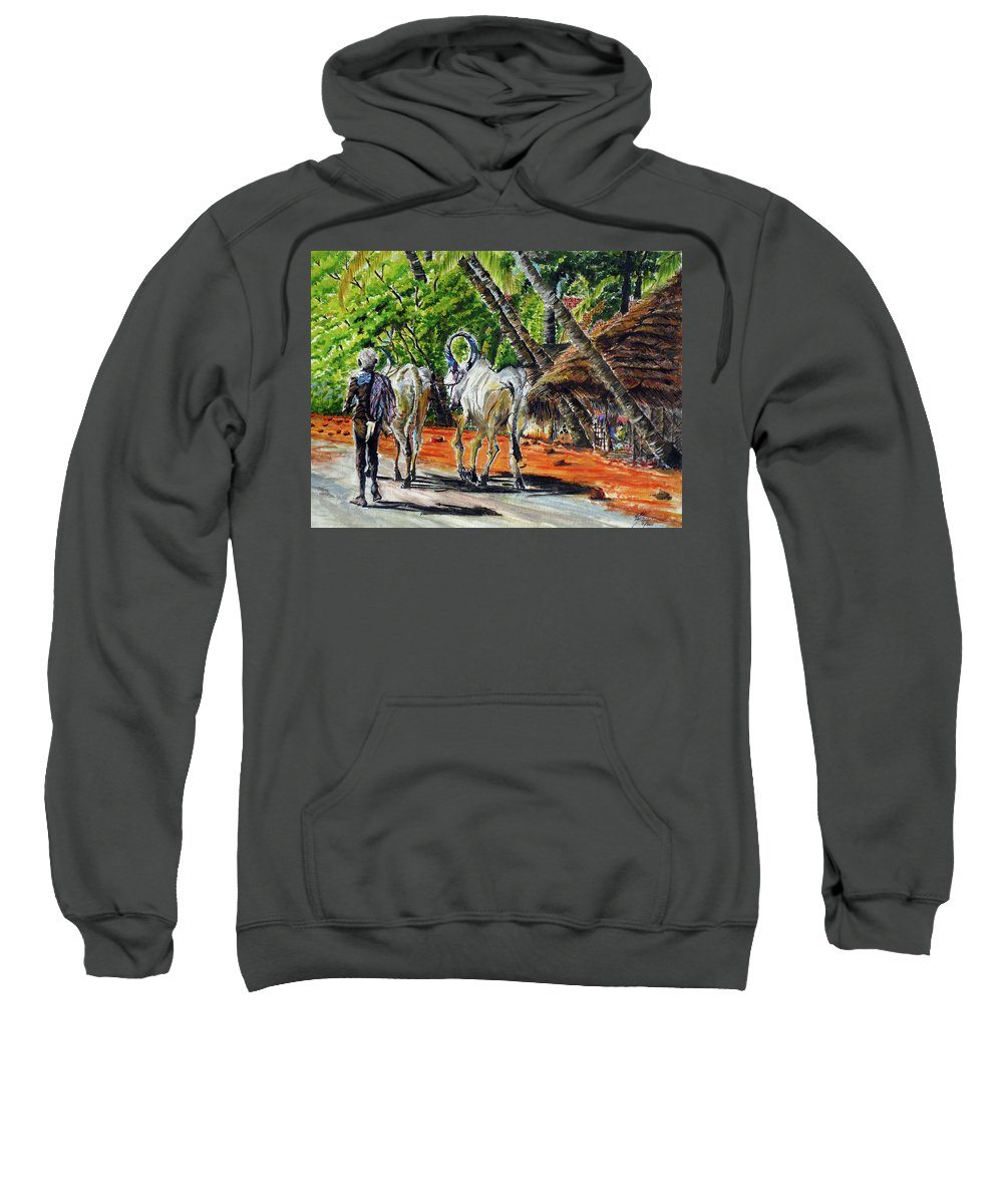 Tamilnadu Sweatshirt featuring the painting Going Home After Bathing by Aparna Raghunathan