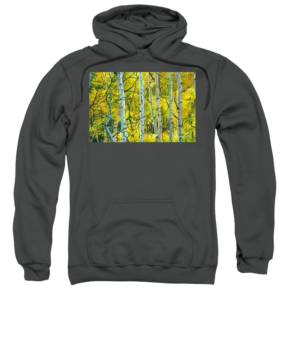 Water Color Paintings Sweatshirt featuring the painting Golden Aspens by Barbara Jewell