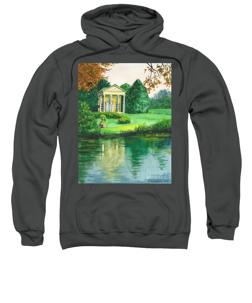 Landscape Sweatshirt featuring the painting Golden Cottage by Margaryta Yermolayeva